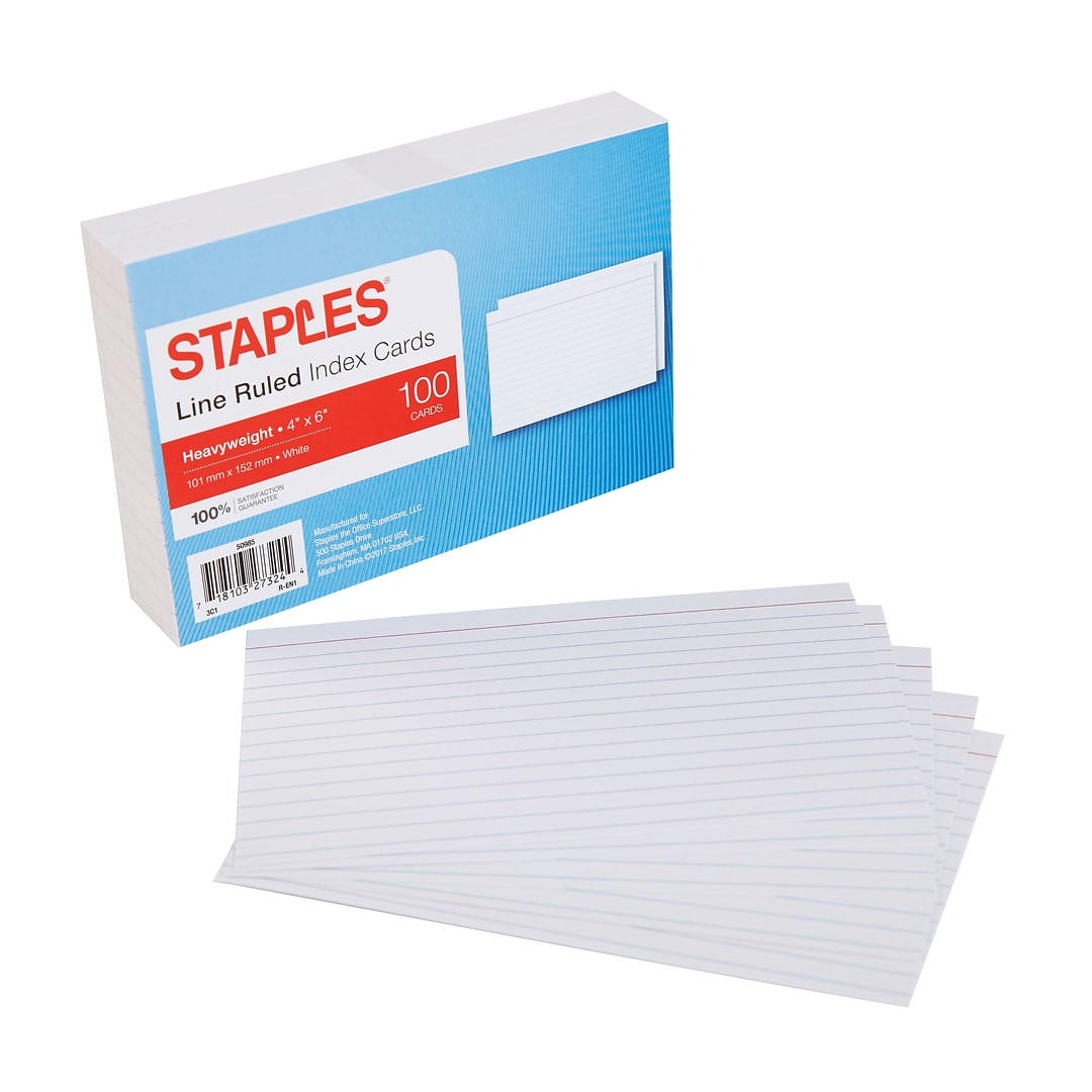 Staples Heavyweight Line Ruled Index Cards 4 X 6 100pack