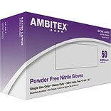 Ambitex® Powder Free Nitrile Gloves, Blue, 8 mil, XL, 500/CT (NXL8201)