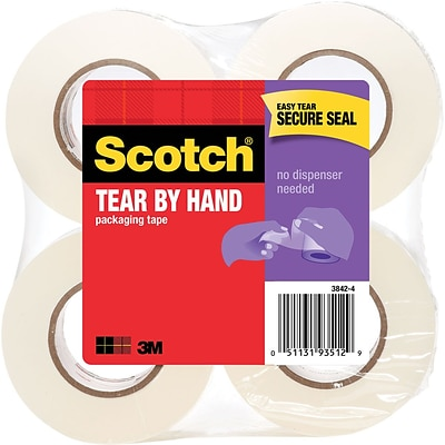 Scotch® Tear-By-Hand Mailing Packing Tape, 1.88W x 50 Yards, Clear, 4 Rolls (3842-4)