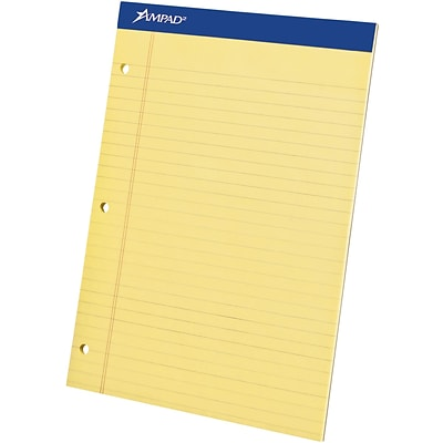 Ampad® Evidence® Ruled Pad 8-1/2x11-3/4, Wide Ruling, Canary, 50 Sheets/Pad, Punched