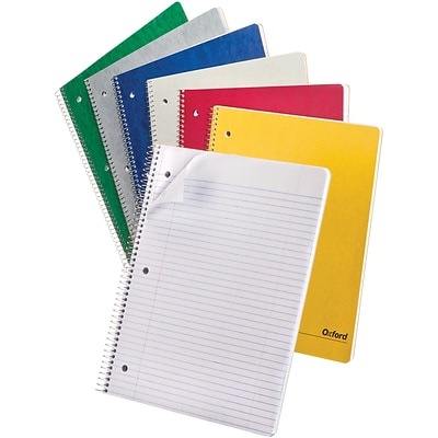 Oxford 1-Subject Notebook, 9 x 11, College Ruled, 100 Sheets, Assorted Colors, 6 Pack (25-009)