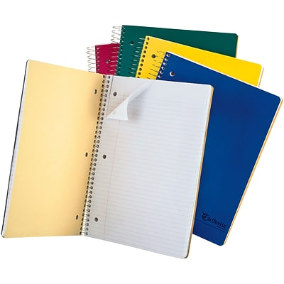 Oxford Earthwise Recycled 3-Subject Notebook, 8 1/2 x 11, College Ruled, 150 Sheets, Assorted Colors (25-435)