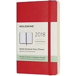 2018 MOLESKINE 12M WEEKLY NOTEBOOK, 3x5, POCKET RED SOFT(854184)