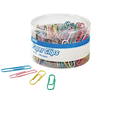 Quill Brand® Jumbo Vinyl-Coated Paper Clips, Assorted, 200/Tub