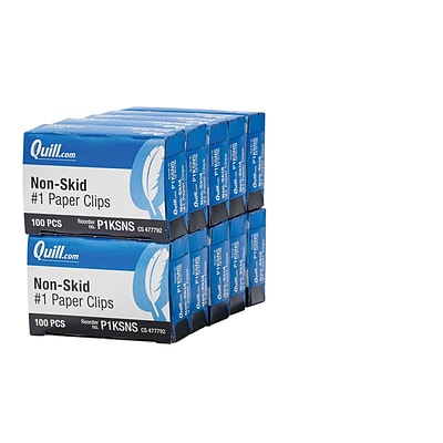 Quill Brand® Standard Size, Non-Skid Paper Clips, 1000 Count/10 Boxes (P1KSNS)