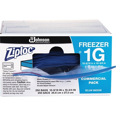 Ziploc® 1 Gallon Double Zipper Freezer Storage Bags Commercial 250 CT