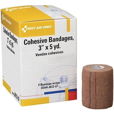 First Aid Only™ Cohesive Elastic Bandage Wrap You Can Tear, Latex-free, 3 x 5 yd, 4/box