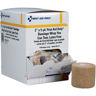 First Aid Only™ Cohesive Elastic Bandage Wrap You Can Tear, Latex-free, 2 x 5 yd, 8/box