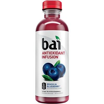 Bai Brasilia Blueberry, Antioxidant Infused Beverage, 18 Fl. Oz. Bottles, 12/Pack