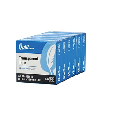 Quill Brand® Transparent Tape, Glossy Finish, 3/4 x 36 yds., 6 Rolls (CD765TPK6)