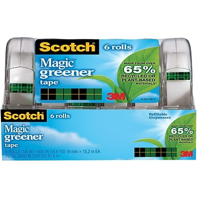 Scotch® Magic™ Greener Tape, 3/4 x 600, 6 Dispensers/Pack (6123)
