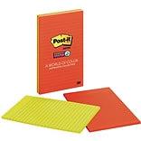 Post-it® Super Sticky Large-Format Notes, 5 x 8, Marrakesh Collection, Lined, 4 Pads/Pack (5845SSA
