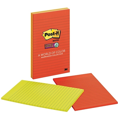 Post-it® Super Sticky Large-Format Notes, 5 x 8, Marrakesh Collection, Lined, 4 Pads/Pack (5845SSAN)