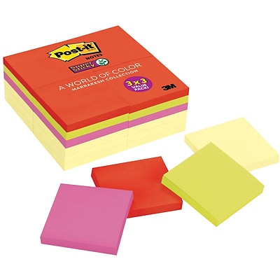 Post-it® Super Sticky Notes, 3 x 3, Marrakesh Collection, 24 Pads/Pack (65424SSCYN)