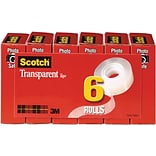 Scotch® Transparent Tape; 3/4 x 1000, 1 Core, 6/Pack