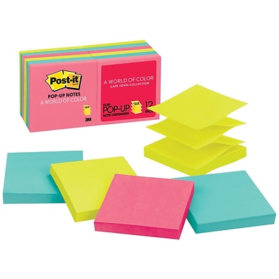 Post-it® Pop-up Notes, 3 x 3, Cape Town Collection, 12 Pads/Pack (R330-12AN)