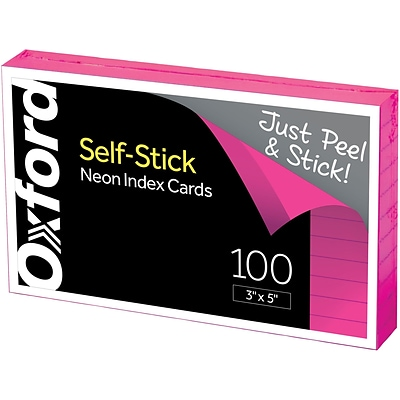 Oxford® Self-Stick Index Cards, 3 x 5, Ruled, Neon, 100 Per Pack
