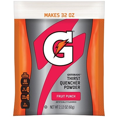 Gatorade® Powdered Sports Drink Mix, Fruit Punch, 2.12 oz. Pouch, 24/Pack
