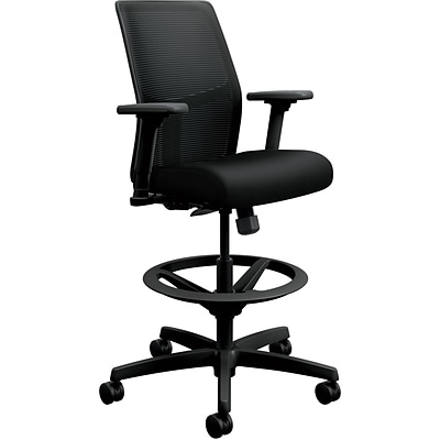 HON Ignition 2.0 Low-Back Black ilira-Stretch Mesh Task Stool, Height- and Width-Adjustable Arms, Black NEXT2018 NEXT2Day