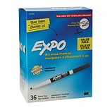 Expo® Low Odor Dry Erase Marker, Fine Point, Black, 36/Bx