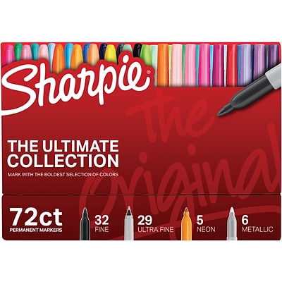 Sharpie® Ultimate Permanent Marker Collection, Assorted Tips, Assorted Ink, 72/Pack (1983254)
