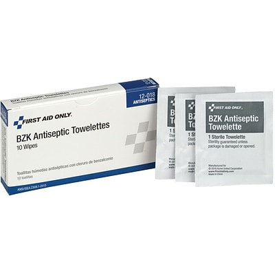 First Aid Only® BZK Antiseptic Towelettes, Pack of 10 (12-018)