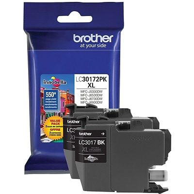 Brother LC 3017 Black Ink Cartridge, High Yield, 2/Pack (LC30172PK)