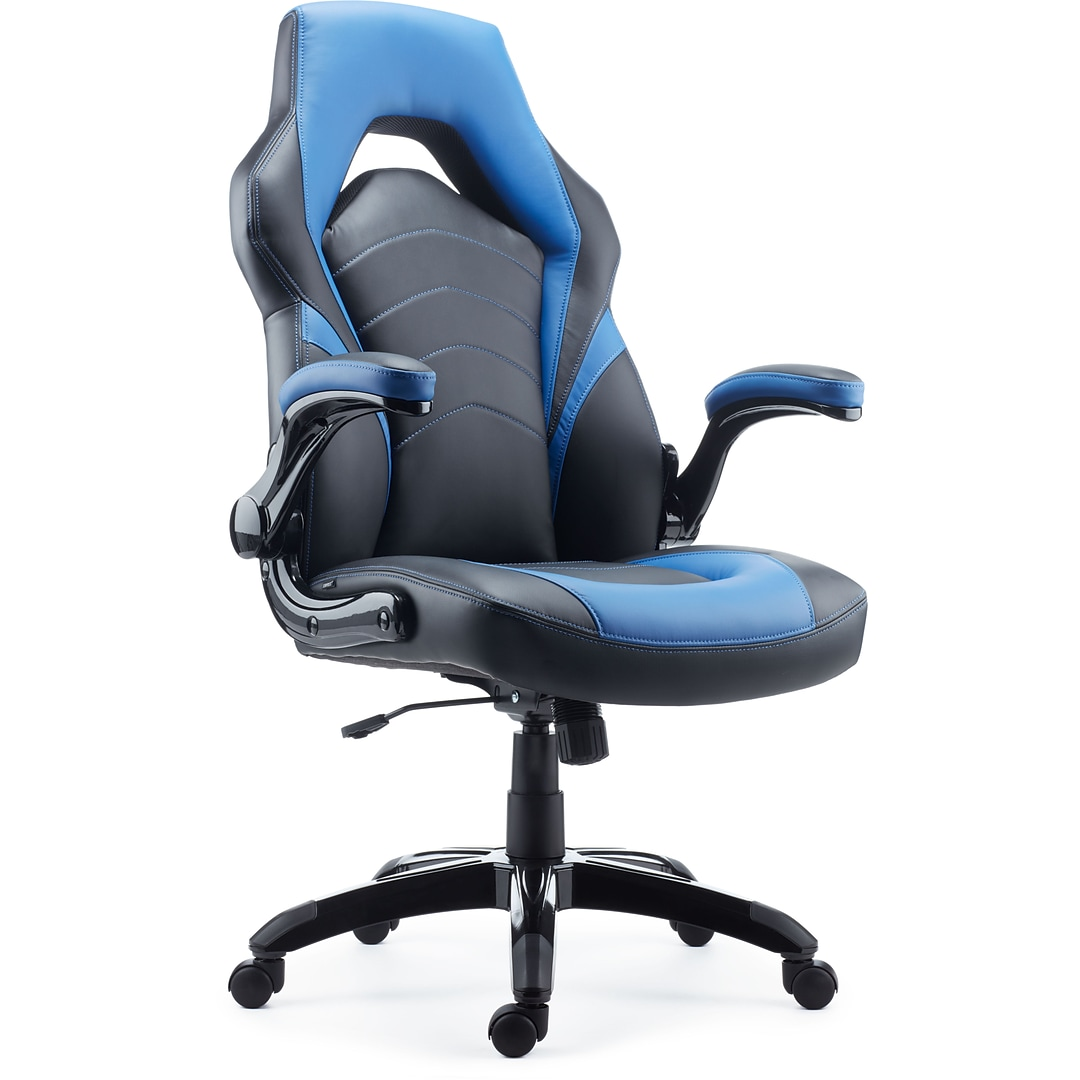 Cool Quill Brand Luxura Faux Leather Racing Gaming Chair Black And Blue 51464 Cc Alphanode Cool Chair Designs And Ideas Alphanodeonline