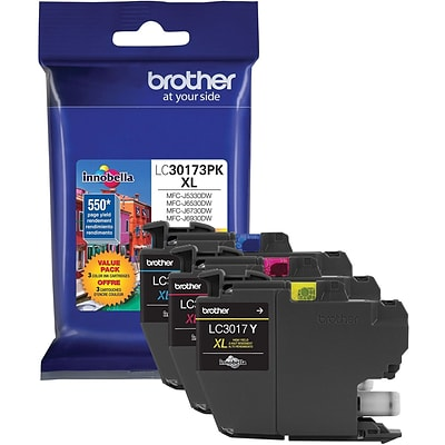 Brother LC 3017 Color Combination Ink Cartridge, High Yield, 3/Pack (LC30173PK)
