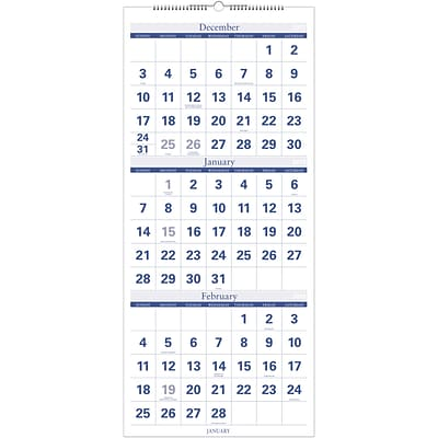 2018 Quill Brand® Quarterly Wall Calendar; Blue, 27 x 12