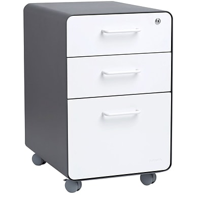 Poppin Stow 3-Drawer File Cabinet, Rolling, Letter/Legal, Charcoal + White