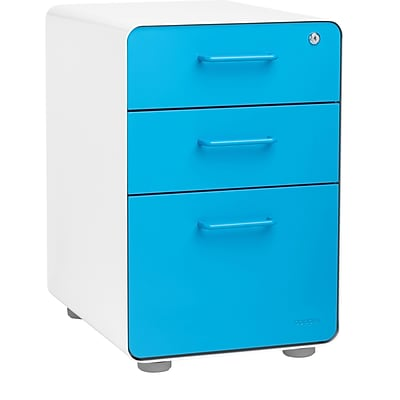 Stow 3-Drawer File Cabinet, White + Pool Blue