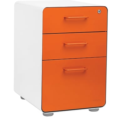 Stow 3-Drawer File Cabinet, White + Orange