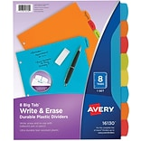 Avery Big Tab Write & Erase Durable Plastic Dividers, 8 Multicolor Tabs, 1 Set (16130)