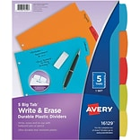 Avery Big Tab Write & Erase Plastic Dividers, 5-Tab, Assorted Colors (16129)