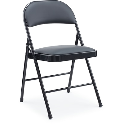 Staples Metal Folding Chair, Luxura Padded Seat, Black