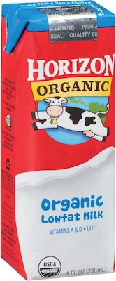 Horizon Organic Low Fat Milk, 1% Plain, 8 Oz., 18/CT