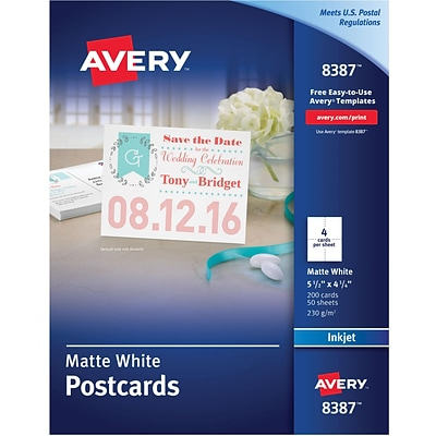 Avery Inkjet Postcards, White Matte Finish, 5.5 x 4.25, 200/Pack (08387)