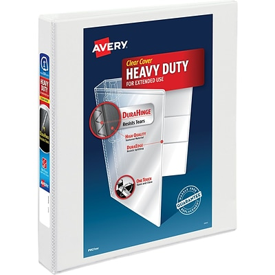 Avery Heavy-Duty View Binder, 1 One Touch Rings, 275-Sheet Capacity, DuraHinge, White (79199)