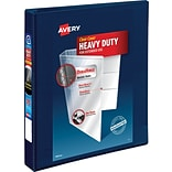 Avery Heavy-Duty View Binder, 1 One Touch Rings, 275 Sheet Capacity, DuraHinge, Navy Blue (79809)