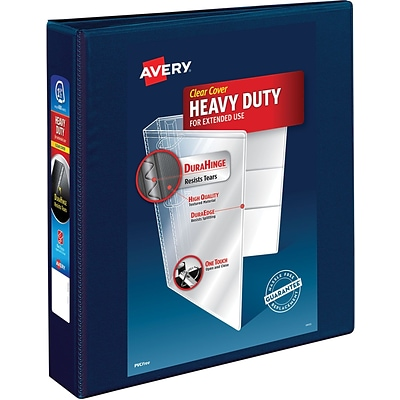 Avery Heavy-Duty View Binder, 1-1/2 One Touch Rings, 400 Sheet Capacity, DuraHinge, Navy Blue (79805)