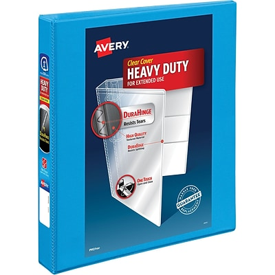 Avery Heavy-Duty Nonstick View Binder, 1 One Touch Slant Rings, 200 Sheet Capacity, DuraHinge, Lt. Blue (05301)