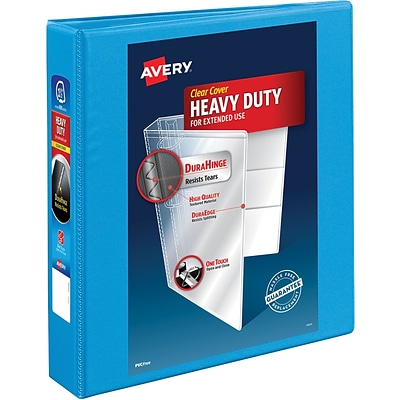 Avery Heavy-Duty Nonstick View Binder, 1-1/2 One Touch Slant Rings, 375 Sheet Capacity, DuraHinge, Lt. Blue (05401)