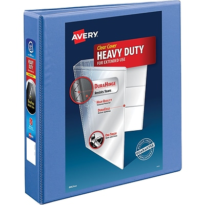 Avery Heavy-Duty View Binder, 1-1/2 One Touch Rings, 400 Sheet Capacity, DuraHinge, Periwinkle (17553)
