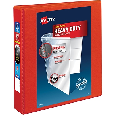 Avery Heavy-Duty View Binder, 1-1/2 One Touch Rings, 400 Sheet Capacity, DuraHinge, Red (79171)