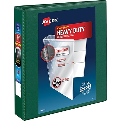 Avery Heavy-Duty View Binder, 1-1/2 One Touch Rings, 400 Sheet Capacity, DuraHinge, Green (79173)