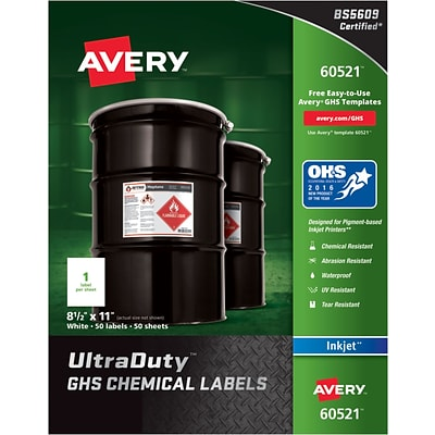 Avery UltraDuty GHS Chemical Labels for Pigment-Based Inkjet Printers, Waterproof, UV Resistant, 8-1/2 x 11, Box of 50 (60521)