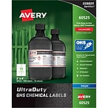 Avery UltraDuty GHS Chemical Labels for Pigment-Based Inkjet Printers, Waterproof, UV Resistant, 2