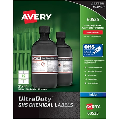 Avery UltraDuty GHS Chemical Labels for Pigment-Based Inkjet Printers, Waterproof, UV Resistant, 2 x 4, Box of 500 (60525)