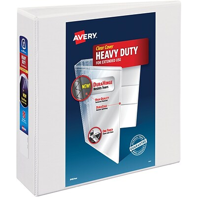 Avery Heavy-Duty View Binder, 3 One Touch Rings, 670 Sheet Capacity, DuraHinge, White (79193)